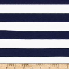 """Riley Blake Cotton Jersey Knit 1"""" Stripes Navy from @fabricdotcom  From Riley Blake Fabrics, this lightweight stretch cotton jersey knit fabric features a smooth hand and four way stretch for added comfort and ease. With 50% stretch across the grain and 25% vertical stretch, it is perfect for making t-shirts, leggings, loungewear, yoga pants and more! It features printed horizontal stripes."""