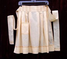 50s Yellow Gingham Vintage Embroidered Apron