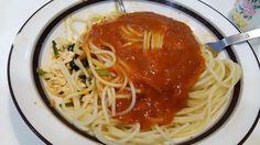 不味そう飯: スパゲッティミートソースである!単なるスパゲッティミートソースなのに、このように不味そうに見せるとは...