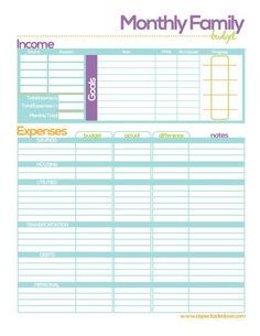 Free Printable Family Budget Worksheets  Budgeting Worksheets