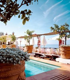 The Champagne & Oyster Bar at Le Sirenuse Hotel, Positano, Italy - Amalfi Coast Places Around The World, The Places Youll Go, Places To Go, Beach Resorts, Hotels And Resorts, Luxury Hotels, Luxury Travel, Places To Travel, Travel Destinations