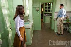 India Stoker's lilac shirt and cinnamon skirt