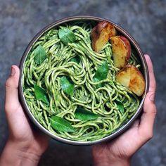 Creamy pasta with Peruvian Basil Spinach Sauce