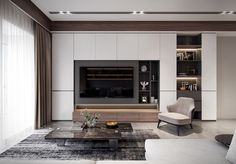 Wohnung in Behance - TV-Gerät Living Room Tv Unit Designs, Living Room Wall Units, Living Room Interior, Home Living Room, Home Interior Design, Kitchen Interior, Tv Cabinet Design, Tv Wall Design, Tv Wall Cabinets