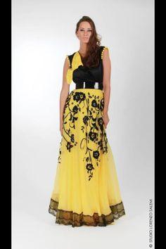 Yellow and black caftan