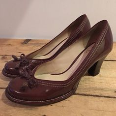 df1f5807568469 UK SIZE 6 WOMENS CLARKS MAROON BROWN PATENT BOMBAY LIGHTS SHOES HEELS