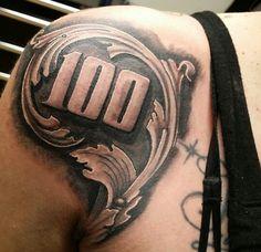 a hunnid/shoulder tattoo Forarm Tattoos, Dope Tattoos, Badass Tattoos, Arm Tattoos For Guys, Body Art Tattoos, Hand Tattoos, Tattoo Design Drawings, Tattoo Sleeve Designs, Tattoo Designs Men