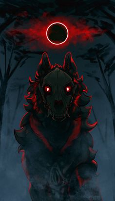 Red moon eclipse by Pyremoonshadow on DeviantArt Fantasy Wolf, Dark Fantasy, Fantasy Art, Red Moon Eclipse, Eclipse Tattoo, Moon Sketches, Tribal Wolf Tattoo, Demon Wolf, Sketch Inspiration