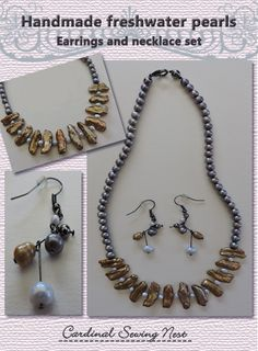 Bespoke light blue, grey and beige freshwater pearls earrings and necklace set
