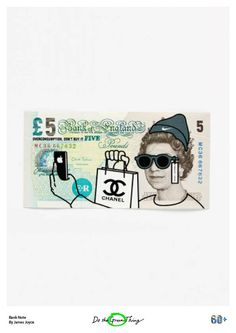 Everyday Things for Earth Hour day 17, taking the image of the Queen on the five pound note and showing her overindulging herself in brands of our day, illustrator James Joyce has screen-printed a provocative warning of the dangers of overconsumption and how it can harm both our mental health and our environment. http://ow.ly/KSdhT