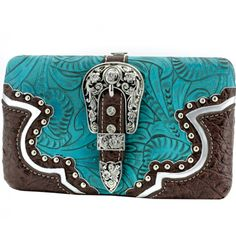 Turquoise & Brown Buckle Front Western Wave Design Rhinestone Wallet