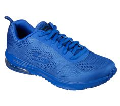 Add some bold hues and amazing comfort to your workout with the SKECHERS Skech-Air Infinity - Vivid Color shoe.  Skech-Knit mesh one piece solid-colored fabric and synthetic upper in a lace up athletic sporty training sneaker with visible air cushion heel and Air Cooled Memory Foam insole.