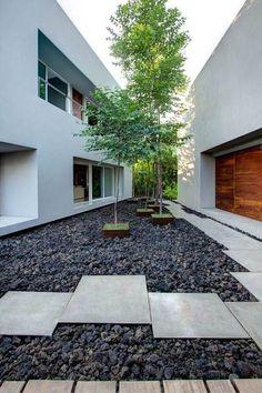enclosed pebble garden