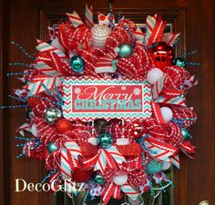 RETRO Turquoise Red and White MERRY CHRISTMAS Mesh by decoglitz