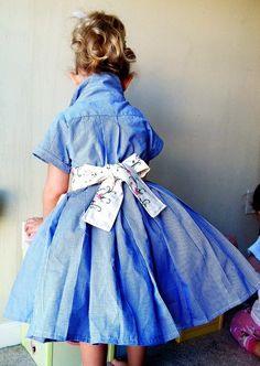 a little girls dress made of Dad's old shirt.
