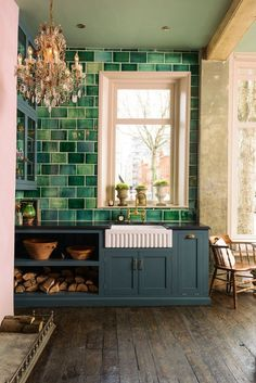 131 Amazing Colorful Kitchen Design Ideas For Exciting Cooking Green Kitchen Countertops, Green Kitchen Walls, Kitchen Wall Tiles, Kitchen Colors, Kitchen Design, Kitchen Cabinets, Industrial Style Kitchen, Industrial Interior Design, Best Interior Design