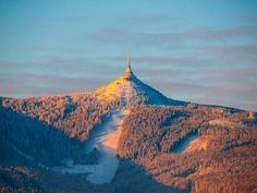 Morning sunrise at Jested Mountain and Jested Ski Resort. Morning Sunrise, Winter Time, Czech Republic, Monument Valley, Skiing, Mood, Stock Photos, Mountains, Travel