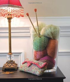 I want to make a center piece like this for my knitting area coffee table. This was from a knitting book of patterns.