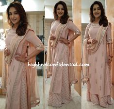 Madhuri Dixit in blush peach gota patti kurta and printed palazzos by Anita Donge - Bollywood - Celebrity fashion 2016 Indian Suits, Indian Attire, Indian Dresses, Indian Wear, Indian Clothes, Punjabi Suits, Pakistani Suits, Salwar Suits, Bollywood Celebrities