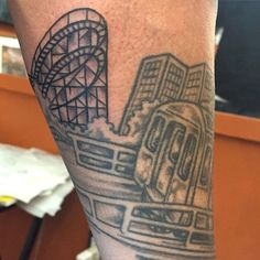 """15 Of The Craziest New York City-Inspired Tattoos #refinery29  http://www.refinery29.com/nyc-inspired-tattoos#slide-8  As Brooklyn tattoo artist Adam Suerte says, """"Summer is comin', time for Coney."""" And what better homage to the boardwalk than putting its legendary Cyclone roller coaster in ink?"""
