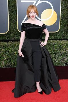 Missed her! It feels like it's been a while since Christina Hendricks was on the red carpet. The Good Girls star was one of the few women to rock pants at the Golden Globes in LA Sunday, alth…