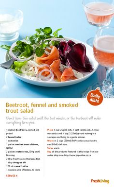 Beetroot, fennel and trout salad makes a fresh, healthy starter.