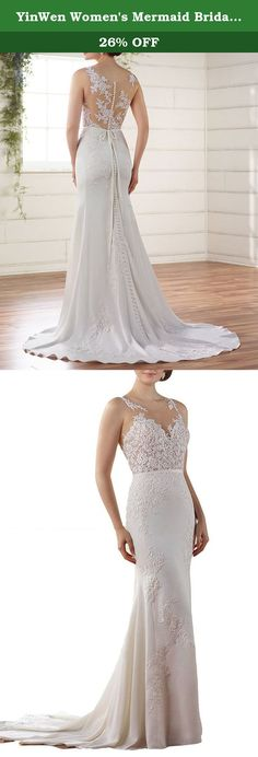 YinWen Women's Mermaid Bridal Gowns Lace Appliques Bodice Court Trains Zipper Stain Belt Formal Wedding Dress Ivory 4 US. Lace,Appliques,Sleeveless,Court Train,Mermaid Great for Church Wedding Dress,Bridal Gown,Beach Wedding Dress,Garden Wedding Dress and other Special Occasion Fabric: Stains Back Details: Zipper+Button,Full Back Silhouette: Mermaid Embellishment: Lace,Appliques Kindly Notes: 1.The real color of the item may be slightly different from the pictures shown on website caused…