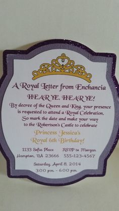 Sofia The First Invitations by ItsShowtimeParty on Etsy