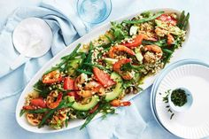 Barbecued honey prawn, grapefruit and barley salad