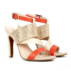 Tangerine and Crystal Heels Sole Society Shoes - Colorblock sandals - Savannah #tangerine #orange #strappy #heels #sole_society