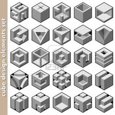 3d cube logo design pack Stock Photo