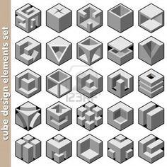 3d cube logo design pack Stock Photo