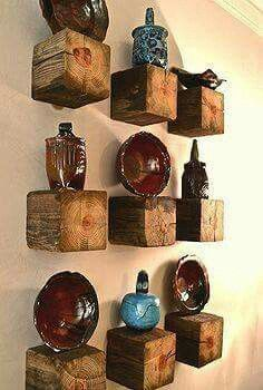 End pieces of wood beam. Great statement pieces, with or without anything on top.