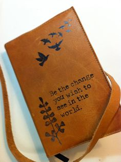 leather journal sketchbook custom handprinted for you be by inblue. $25.00 USD, via Etsy.