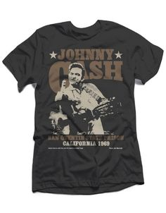 Johnny Cash Outlaw Finger Mens Premium Soft T-Shirt - Guaranteed Authentic.  Fast Shipping.