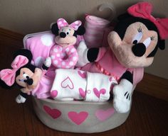 Minnie Baby Gift Basket by FiveBrownMonkies. Minnie Mouse baby shower gift basket idea.. perfect for the Disney baby