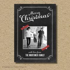 Chalkboard Christmas card, photo holiday card. $15.00, via Etsy.