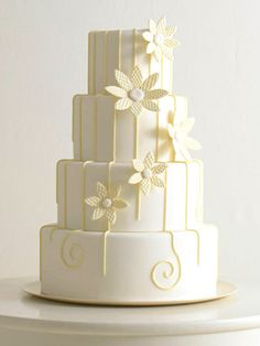 awesome wedding cake, with a brighter yellow color for sunflowers