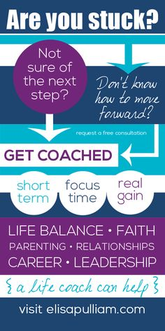 Are you stuck? Not sure of the next step? Don't know how to move forward? Life coaching can help! Learn more here --> http://www.elisapulliam.com/life-coaching/