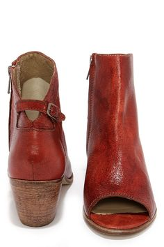 Matisse Folk Brick Red Leather Peep Toe Booties at Lulus.com!