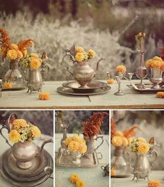 vintage wedding decor | ... – Silver Containers – Ultrapom: wedding and event decor rental Silver Teapot, Wedding Table Settings, Place Settings, Wedding Rentals, Vintage Silver, Antique Silver, Vintage Decor, Vintage Tea, Vintage Table