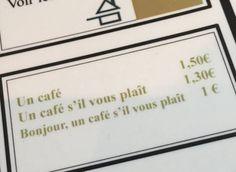 Le prix du café change selon la politesse du client? La carte d'un restaurant français étonne les internautes étrangers