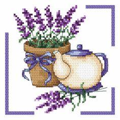 Dzbanek z lawendą - Coricamo sklep - haft krzyżykowy, koralikowy, wzory bezpłatne, kanwy, Aidy z nadrukiem, sutasz, mulina,… 123 Cross Stitch, Cross Stitch Boards, Cross Stitch Kitchen, Cross Stitch Flowers, Counted Cross Stitch Patterns, Cross Stitch Embroidery, Embroidery Patterns, Modern Embroidery, Cross Stitch Cushion