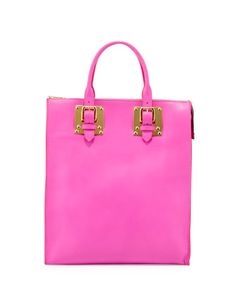 Soft Buckled Zip Tote Bag, Hot Pink by Sophie Hulme at Neiman Marcus.