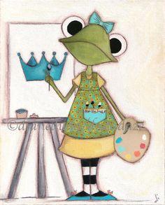 Print of my original folk art painting Artist Frog by DUDADAZE