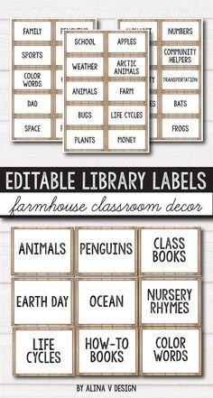 Farmhouse themed library labels for school. These editable labels can be used for preschool, kindergarten, first grade and elementary to make the classroom library more fun and beautiful. They can be placed in book bins, book baskets etc, and includes labels like genre, fiction, months of the year, school, animals, etc. Take a look at these organization ideas and make your classroom look awesome this school year, on a budget with these rustic labels.