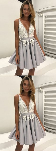 Homecoming Dress ,  A-Line Cut Out  Homecoming Dress , V-Neck  Homecoming Dress , Grey Satin  Homecoming Dress , Short Homecoming Dress with Appliques,  Homecoming Dress  For girls, Cute  Homecoming Dress