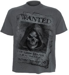 SPIRAL™ T Shirt WANTED The Grim Reaper AKA Death Horror GOTH