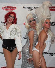 Adore Delano, Bianca Del Rio and Courtney Act in white