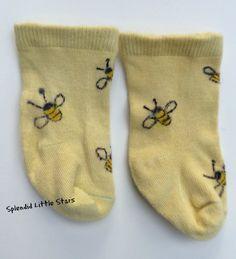 BEES newborn baby SOCKS hand dyed hand by SplendidLittleStars